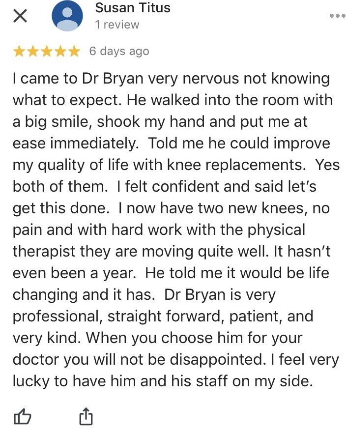 Dr Andrew Bryan- knee replacement surgery portland